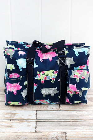 Posh Pigs with Navy Trim Large Organizer Tote