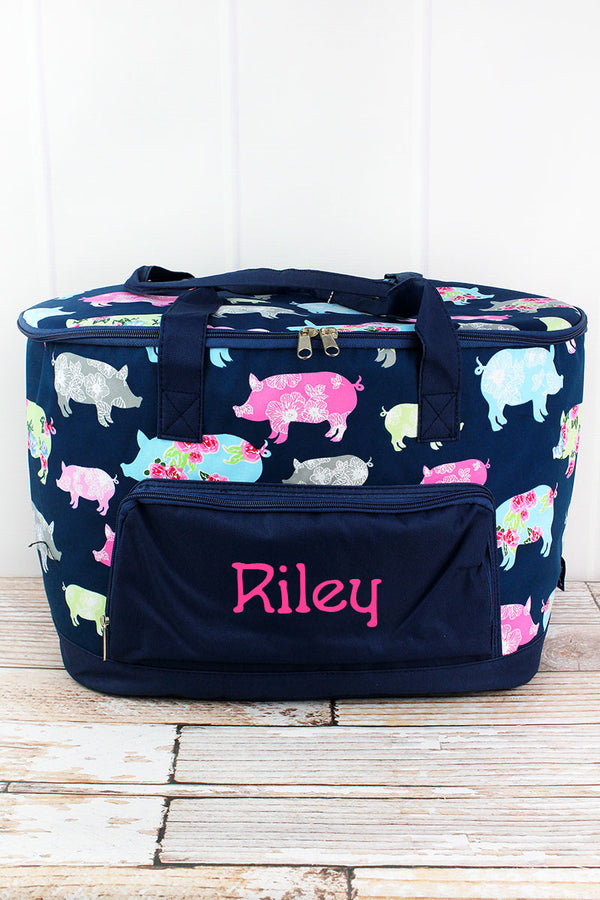 Posh Pigs and Navy Cooler Tote with Lid