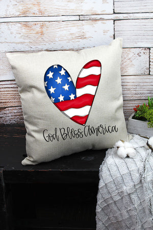 Heart God Bless America Decorative Pillow Cover