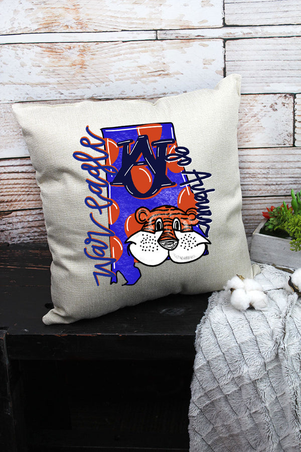 Mascot Auburn Doodle Decorative Pillow Cover
