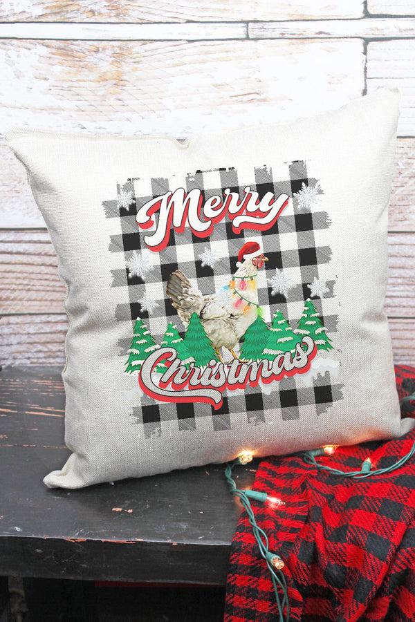 Chicken Merry Christmas Decorative Pillow Cover