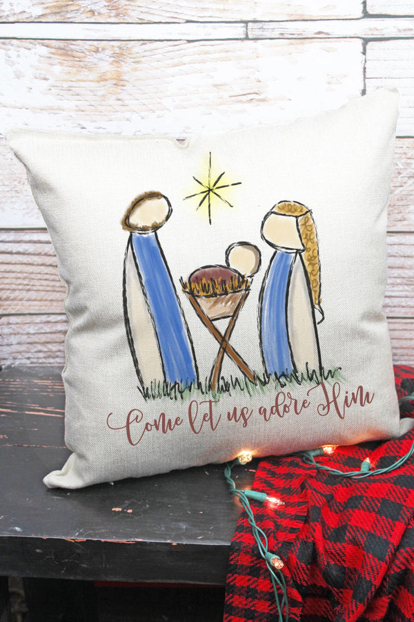 Come Let Us Adore Nativity Decorative Pillow Cover