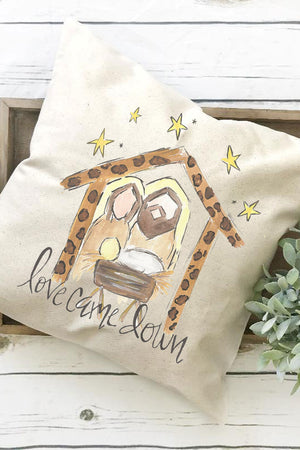 Love Came Down Manger Decorative Pillow Cover