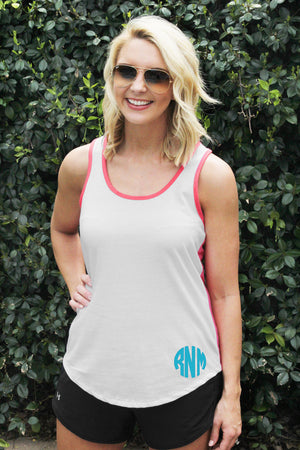 Next Level Ladies' Colorblock Racerback Tank, Turquoise/Black *Personalize It!
