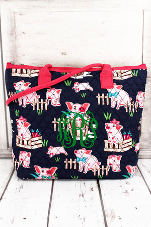 Playful Pigs Quilted Shoulder Bag with Hot Pink Trim #PIQ1515-HPINK