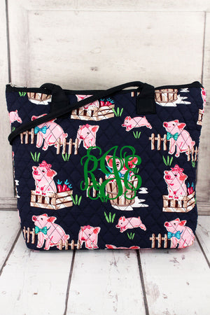 Playful Pigs Quilted Shoulder Bag with Navy Trim #PIQ1515-NAVY