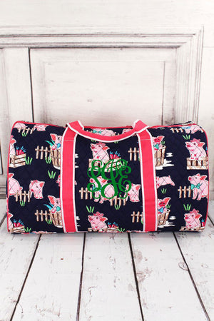 "Playful Pigs Quilted Duffle Bag with Hot Pink Trim 21"" #PIQ2626-HPINK"