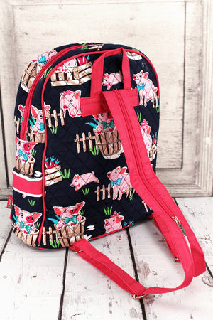 Playful Pigs Quilted Backpack with Hot Pink Trim