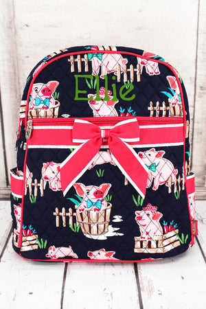 Playful Pigs Quilted Backpack with Hot Pink Trim #PIQ2828-HPINK