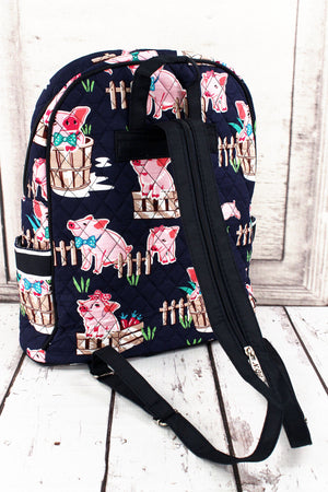 Playful Pigs Quilted Backpack with Navy Trim