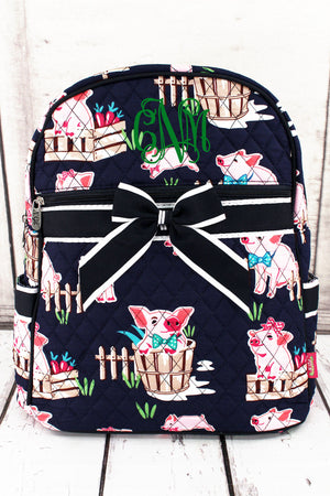 Playful Pigs Quilted Backpack with Navy Trim #PIQ2828-NAVY