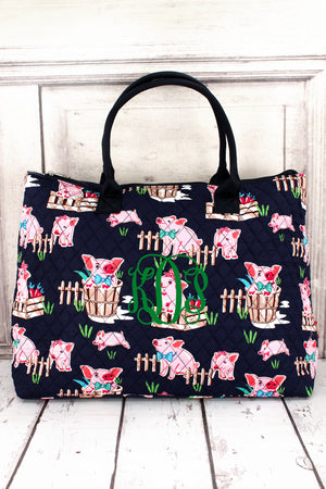 Playful Pigs Quilted Large Shoulder Tote with Navy Trim #PIQ3907-NAVY