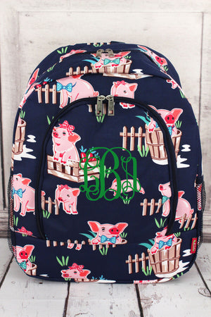 Playful Pigs Large Backpack with Navy Trim #PIQ403-NAVY