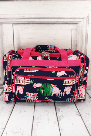 "Playful Pigs Duffle Bag with Hot Pink Trim 20"" #PIQ420-HPINK"