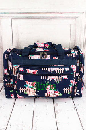 "Playful Pigs Duffle Bag with Navy Trim 20"" #PIQ420-NAVY"