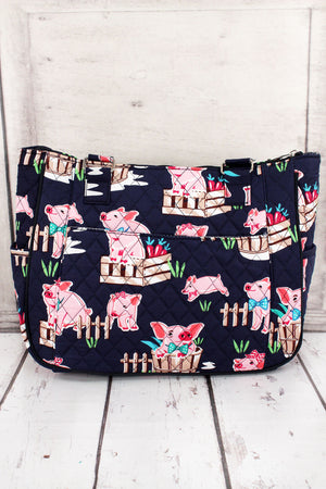 Playful Pigs with Navy Trim Quilted Shoulder Tote