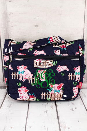 Playful Pigs with Navy Trim Quilted Shoulder Tote #PIQ594-NAVY