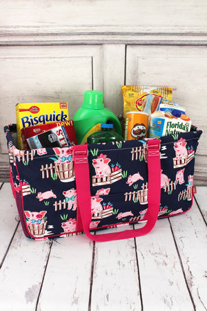 Playful Pigs with Hot Pink Trim Collapsible Haul-It-All Basket with Mesh Pockets #PIQ603-HPINK