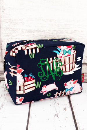 Playful Pigs Cosmetic Case with Navy Trim