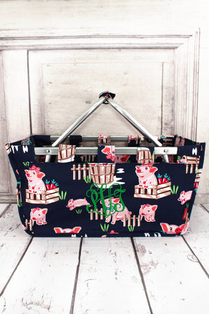Playful Pigs with Navy Trim Collapsible Market Basket #PIQ696-NAVY