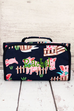 Playful Pigs Roll Up Cosmetic Bag with Navy Trim #PIQ729-NAVY
