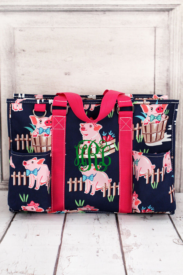 Playful Pigs Utility Tote with Hot Pink Trim #PIQ731-HPINK
