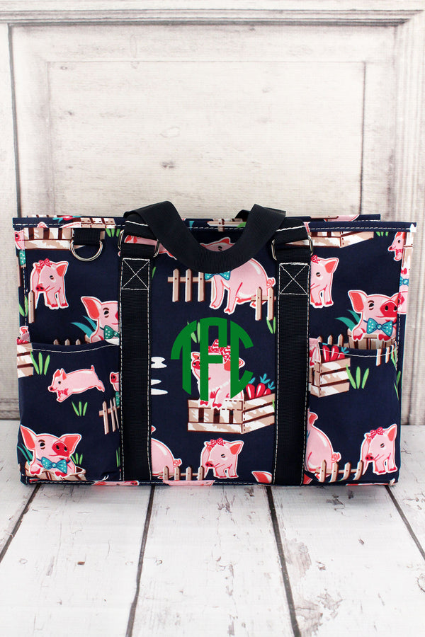 Playful Pigs Utility Tote with Navy Trim #PIQ731-NAVY
