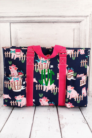 Playful Pigs with Hot Pink Trim Large Organizer Tote #PIQ733-HPINK