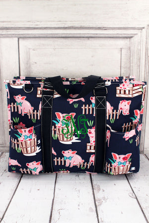Playful Pigs with Navy Trim Large Organizer Tote #PIQ733-NAVY