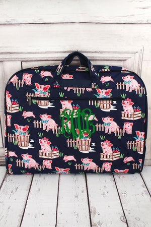 Playful Pigs Garment Bag with Navy Trim #PIQ864-NAVY