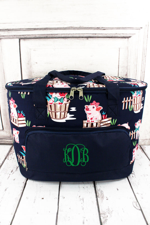 Playful Pigs and Navy Cooler Tote with Lid #PIQ89-NAVY