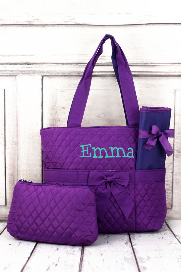 Purple Quilted Diaper Bag