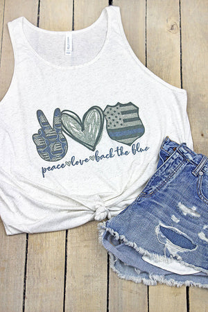 Peace Love Back The Blue Unisex Jersey Tank