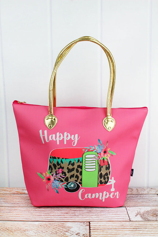 Leopard Happy Camper Coral Pink Faux Leather Shoulder Tote