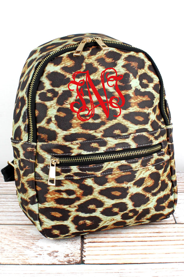 Leopard Faux Leather Small Backpack