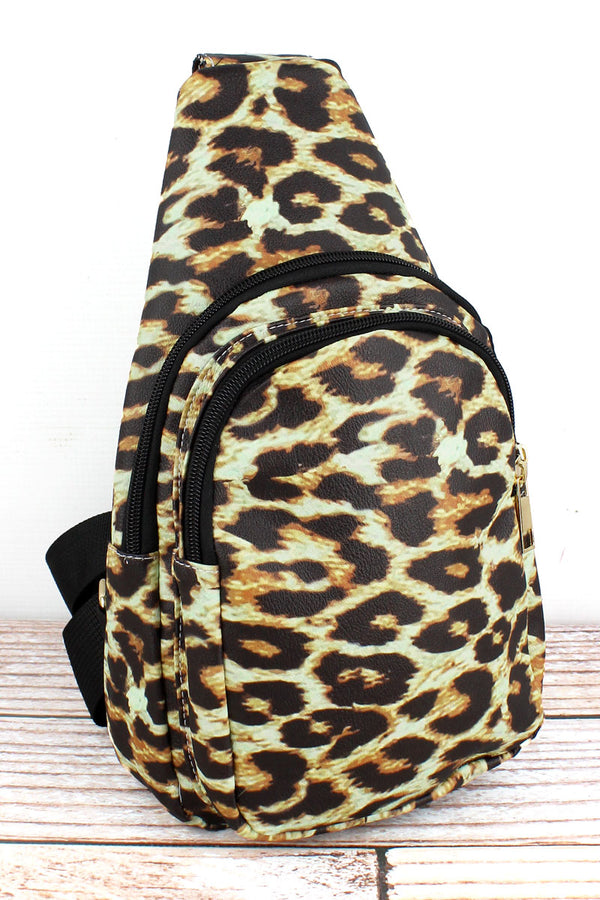 Leopard Faux Leather Small Sling Backpack