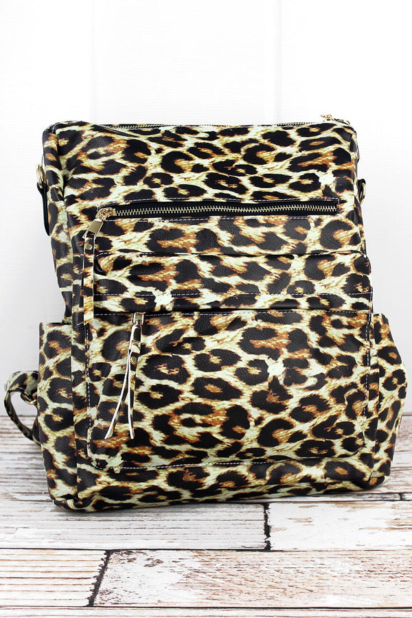 Leopard Faux Leather Backpack Tote