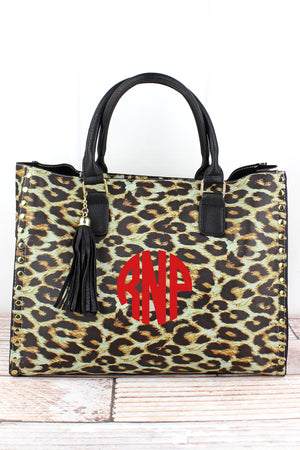 Leopard Faux Leather Studded 2-in-1 Tassel Tote