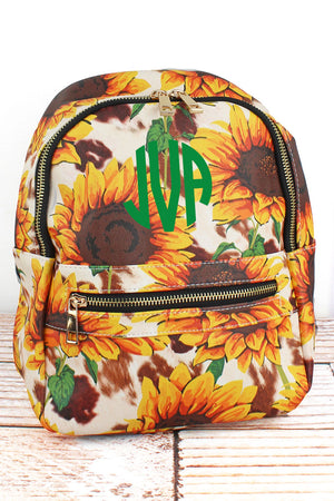 Sunflower Farm Faux Leather Small Backpack
