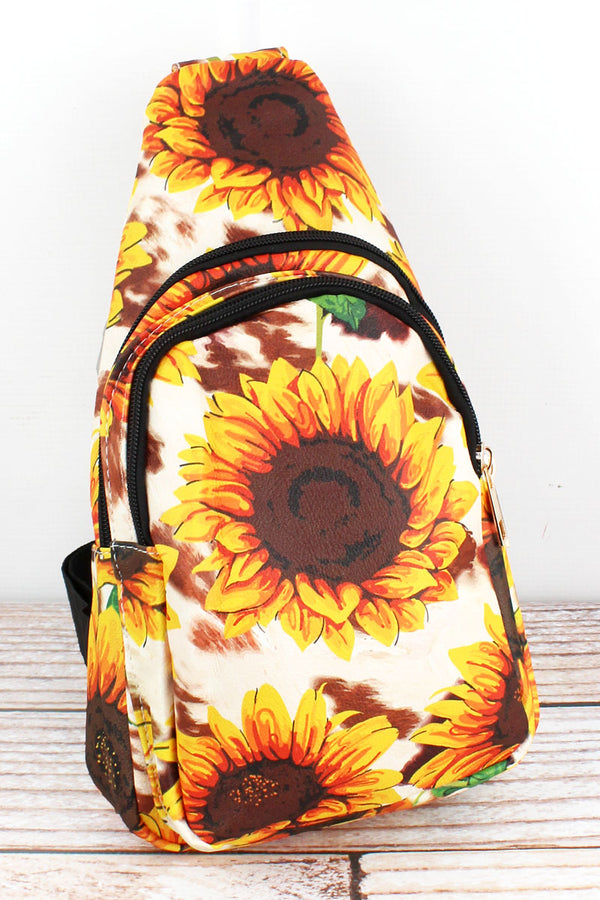 Sunflower Farm Faux Leather Small Sling Backpack