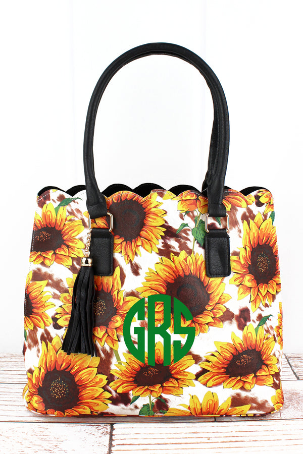 Sunflower Farm Faux Leather Scalloped Tote