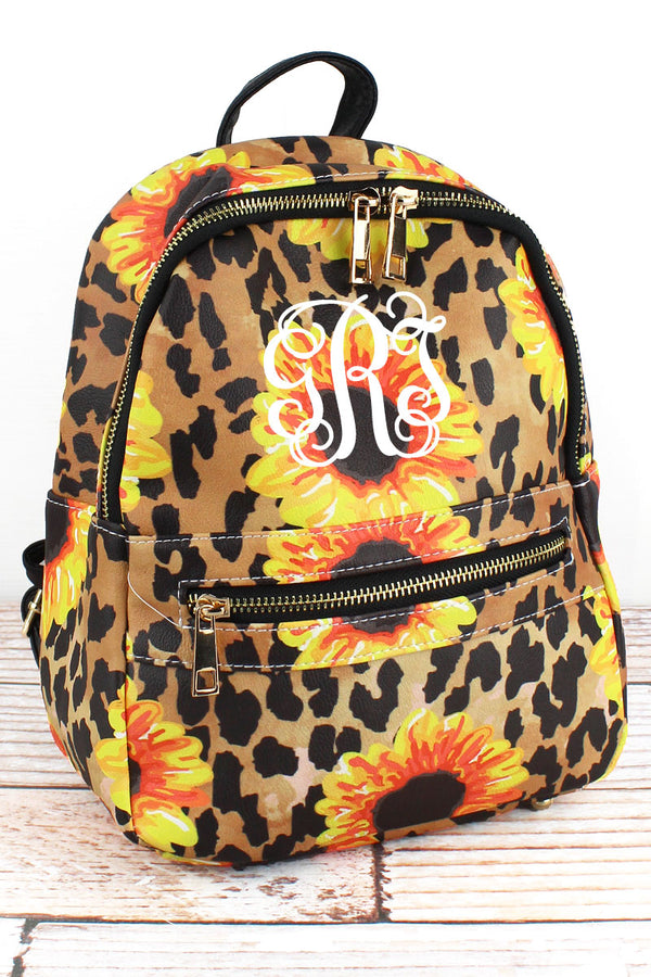 Sunflower Leopard Faux Leather Small Backpack