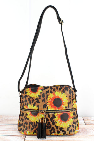 Sunflower Leopard Faux Leather Crossbody Tassel Tote