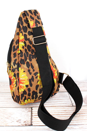 Sunflower Leopard Faux Leather Small Sling Backpack