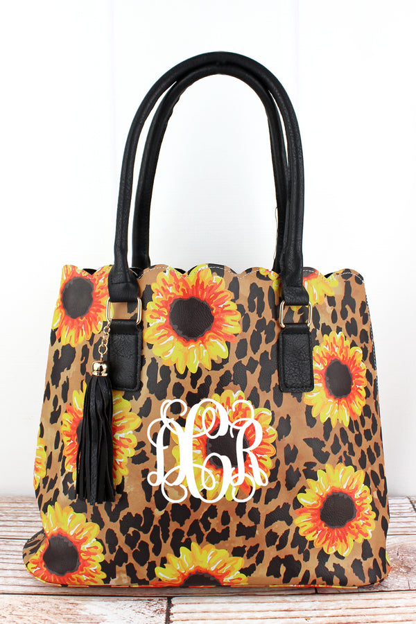 Sunflower Leopard Faux Leather Scalloped Tote