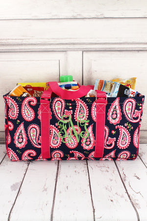 Paisley Passion with Hot Pink Trim Collapsible Haul-It-All Basket with Mesh Pockets #PSN603-HPINK