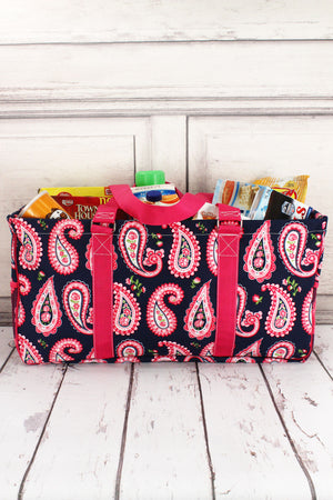 Paisley Passion with Hot Pink Trim Collapsible Haul-It-All Basket with Mesh Pockets