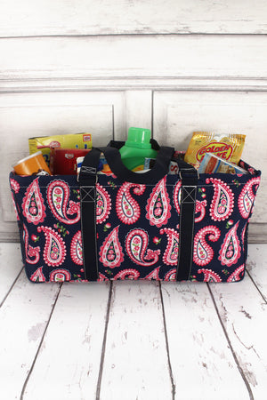 Paisley Passion with Navy Trim Collapsible Haul-It-All Basket with Mesh Pockets