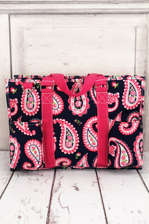 Paisley Passion Utility Tote with Hot Pink Trim