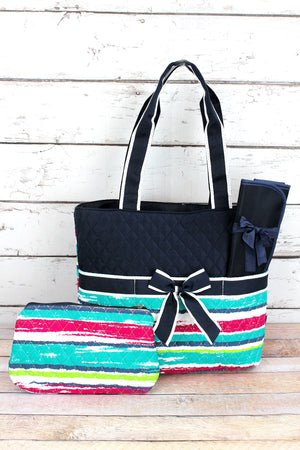 Caribbean Stripe Quilted Diaper Bag